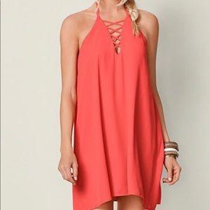 Lace up mini dress (coral color)